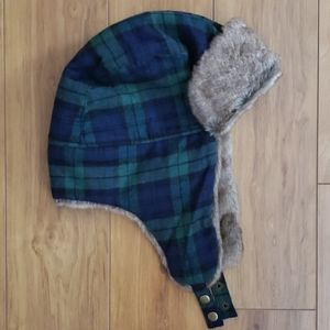 J. Crew Fur Trapper Hat Black Watch Plaid